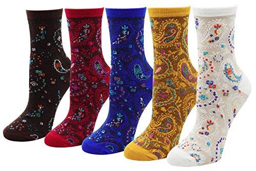 Women Lady's 5 Pair Bohemian Vintage Style Cotton Crew Socks,Multi Color -