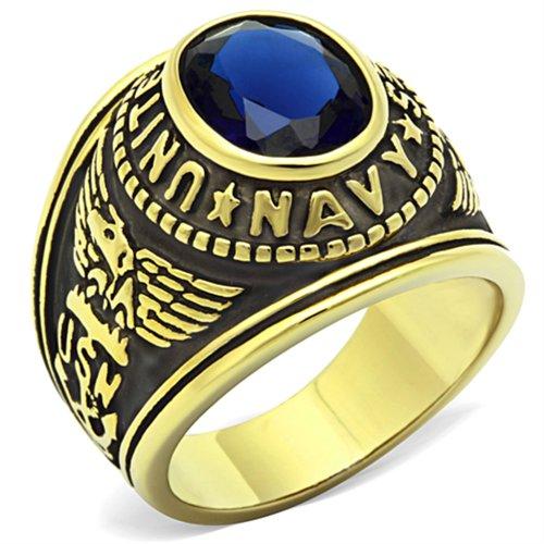 ISADY - US Navy Gold Saphir - Bague Homme - Chevalière - Oxyde de zirconium bleu - Taille 58