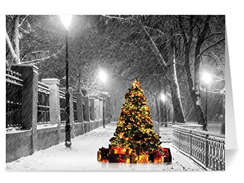Christmas Cards, Holiday Cards - One Jade Lane - Lighted Tree in the Snow, 5x7, Heavy Stock, Set of 18 Cards & Envelopes, Seasons Greetings Cards. (Business Christmas Cards)