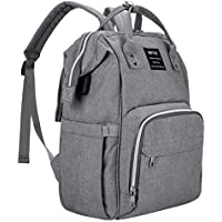 Beyle Multi-Function Waterproof Diaper Backpack for Women Mom (Grey)