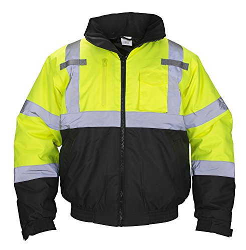 SAS Safety 690-1510 Hi-Viz Class-3 Hooded Bomber Jacket, X-Large, Yellow