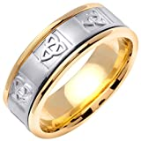 14K Two Tone Gold Celtic Trinity Knot Men's Comfort Fit Wedding Band (8mm)