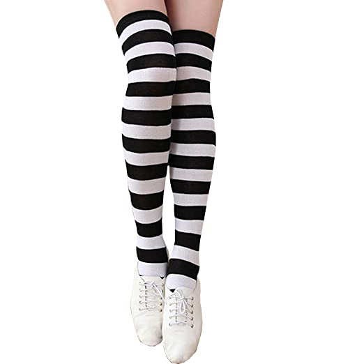 5a7a9603c2c Women s Striped Knee-high socks,Show thin Footed Stockings (Black ...