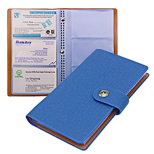 Tenn Well Business Card Holder Book with Magnetic Closure for Organizing Business Cards (Blue)