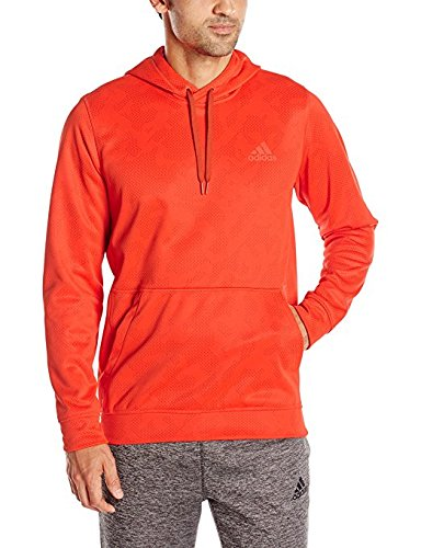 adidas Performance Men's Team Issue Fleece Printed Pullover, X-Large, Bold Orange/Craft Chili