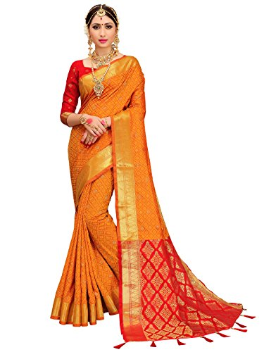 Women Patola Art Silk Woven Work Saree l Indian Traditional Wedding Ethnic Sari Blouse Piece (Yellow) ()