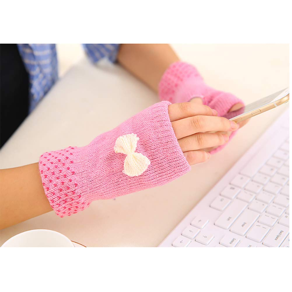 Queta USB Electric Gloves Half Finger Wool Heating Gloves Winter Thickening Butterfly Half Finger Gloves 5V Heating Film