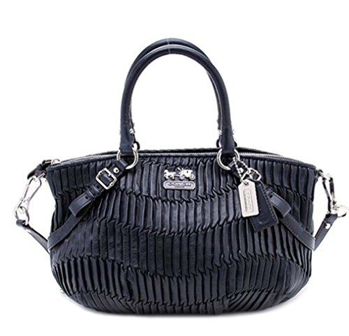 COACH LARGE GATHERED LEATHER SOPHIA CONVERTIABLE SATCHEL BAG PURSE TOTE 15947 MIDNIGHT - Gathered Tote Bag