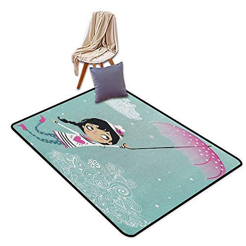Interior Door Rug Bathroom Rug Slip Girls Flying Girl with a Pink Umbrella and a Floral Hat Doodle Style Curly Cloud Motifs Door Rug Increase W6'xL8'