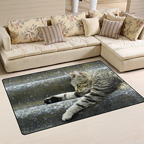 Bolaz Cat Pattern Area Rug Rugs Non-Slip Floor Mat Doormats Living Room Bedroom 60 x 39 inches
