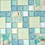 Small Bathroom Flooring Ideas Home Improvement Glass Mosaic Tile Blue And White Backsplash Resin Conch Tiles Iridescent Sea Shell Borders Sheets (1PCS Small Sample 2.8x5.9 Inches)