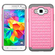 MyBat Carrying Case for Samsung G530 (Galaxy Grand Prime) - Retail Packaging - Pearl Pink/Gray