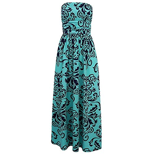 Maxi Green Long Print Dress Women Pocket Party with Floral Strapless Beach Vintage BOSSAND 4q8AW