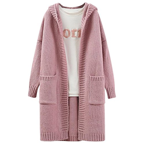 Fashion maker(F&M)カーディガン レディース ニットカーディガン 長袖 フード付き ポケット付き シンプル オシャレ ゆったり カジュアル 全4色 フリーサイズ