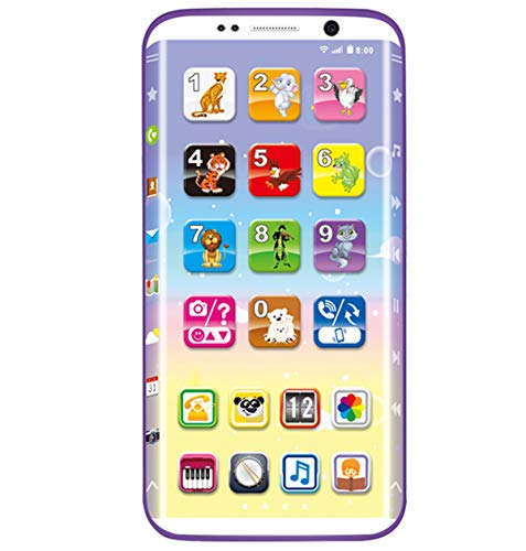 Cooplay Toddler Blue YPhone Phone Toy Touch Screen Learning English Music Ringtone Educational Mobile Gift for Baby Kids Children