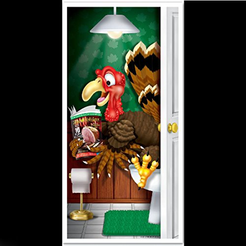 Diy Zombie Hunter Costume (Funny POOPING TURKEY BATHROOM DOOR COVER Thanksgiving Holiday Toilet Decoration)