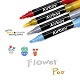 Airbay Liquid Chalk Markers - 12 Colored Washable Pens Plus Neon Gold And Silver, Chalkboard Window Paint 6mm Reversible Tip And Brand New Revolutionary Cap