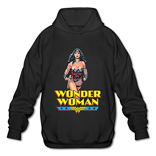 [AOPO Wonder Woman Diana Prince Men's Long Sleeve Hooded Sweatshirt / Hoodie XX-Large Black] (Book Week Costumes For Sale)
