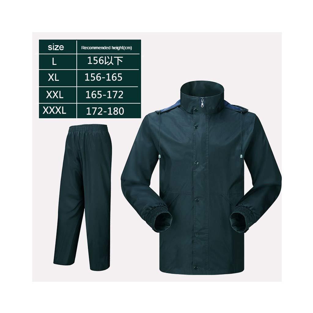 XJRHB Outdoor Raincoat Raincoat Rain Pants Suit Split Adult Waterproof Outdoor Raincoat, Multi-Size Optional (Color : Navy, Size : L) by XJRHB