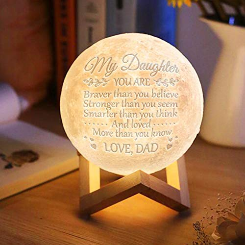 Engraved Moon Lamp Night Light - Brave & Smart Moon Light with Touch Control Brightness - from Mom/Dad to Daughter (B - from Dad) by DOPTIKA (Image #1)