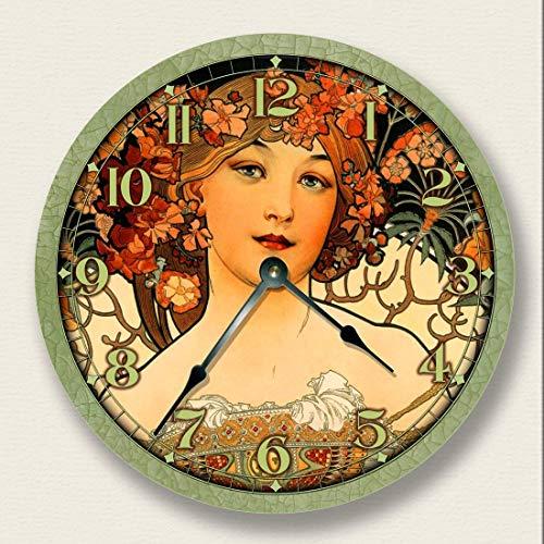 Fancy This Lady in Green Wall Clock - Art Nouveau - Alponse ()