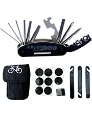 DAWAY Bike Bicycle Repair Tool Kit B32 Cycling Multifunctional Mechanic Fix Tools Set Bag, 16 in 1 Multifunction Tool, Tire Levers, Self Adhesive Tyre Tube Patch Include, 6 Month Warranty