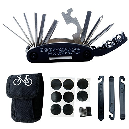 Tool Bicycle Kit Repair (DAWAY B32 Bike Repair Tool Kits - 16 in 1 Multi function Bicycle Mechanic Fix Tools Set Bag Included Glueless Tire Tube Patches & Tire Levers)