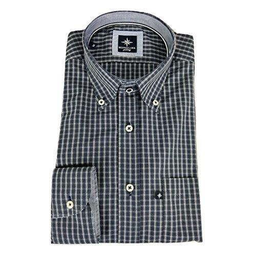 Blu Salina Camicia classica con taschino a manica lunga a scacchi Pedaso