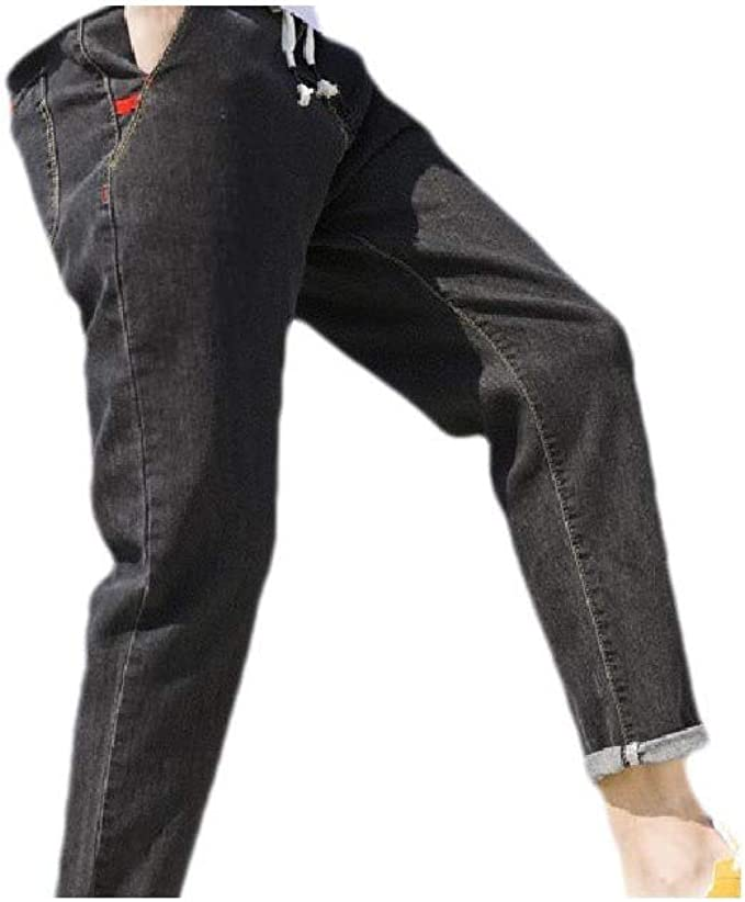 VITryst Men With Pocket Loose Color Block Holes Wrinkle-Resistant Denim Pants