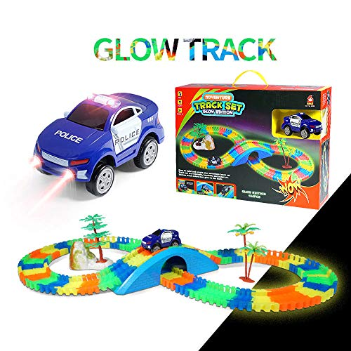 Aole Glow Race Car Track for Boys, Luminous Race Tracks Set Toy Educational Twisted Flexible Tracks154 Pcs with Electric Police Car Rockery Tree Arch Bridge Toys for Kid (Blue)