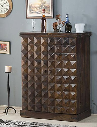 SS WOOD Furniture Wooden Stylish Door's Diamond Design Brown Bar Cabinet with Wine Glass Storage(90 * 50 * 123) cm
