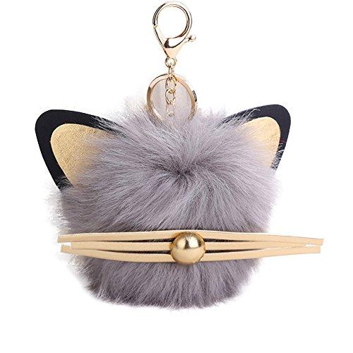 Bluelans® Süße Plüsch Ball Cat Style Anhänger Damen-Schlüssel Kette Tasche Geldbörse Dekoration Schlüsselanhänger, königsblau, Einheitsgröße grau