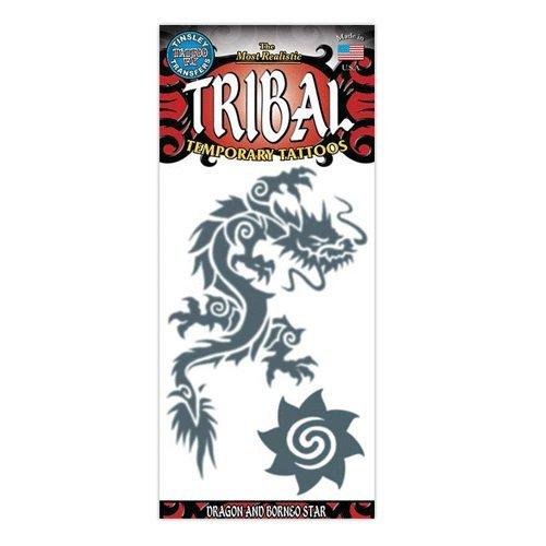 Dragon and Borneo Star Tribal Design Type Temporary Tattoo