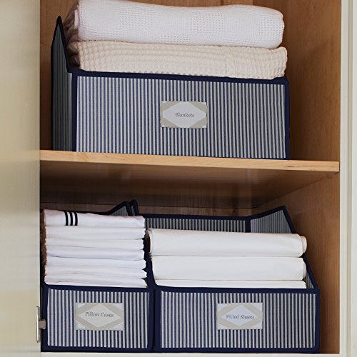G.U.S. Striped Linen Closet Storage: Organize Sheets, Blankets, Towels,  Wash Cloths, Sweaters And Other Closet Storage   Medium