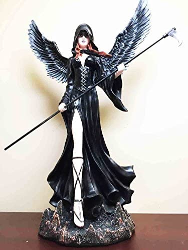 Gifts Decor Large 24 Tall Finale Fantasy Lady Grim Reaper Dark Angel with Scythe Statue