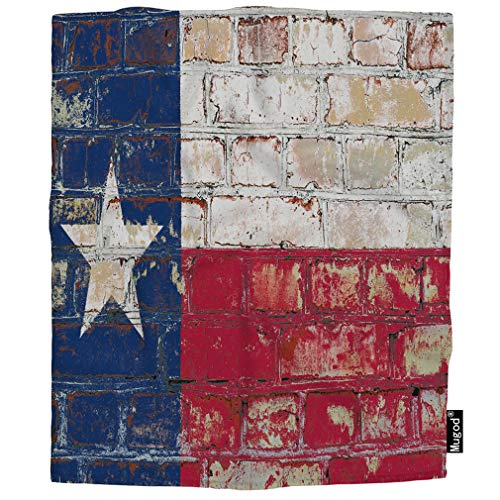 Mugod Texas State Flag Blanket Brick Wall Dallas Houston Rustic Red Blue White Star Fuzzy Soft Cozy Warm Flannel Throw Blankets Decorative for Boys Girls Toddler Baby Dog Cat 40X50 Inch -