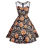 Bookear Clearance!Women's Vintage O-Neck Print Sleeveless Halloween Party Swing Dress (L, Orange)