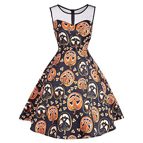 Sikye Women's Sleeveless Vintage 50s Dress Boat Neck Pumpkin Print Halloween Party Swing Dress (2XL, Orange)]()