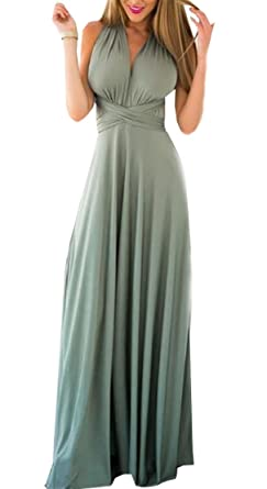c01c80f28f M S W Women s Summer Infinity Gown Dress Multi-Way Strap Wrap Convertible  Maxi ...