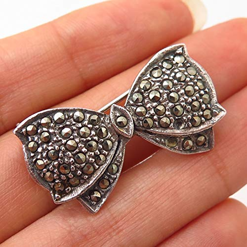 925 Sterling Silver Vintage Real Marcasite Gem Ribbon Pin Brooch/Slide Pendant Jewelry Making Supply by Wholesale Charms ()