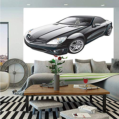 SoSung Cars Wall Mural,Black Modern Sport Car Drive Transportation Automobile Front View Collectors,Self-Adhesive Large Wallpaper for Home Decor 83x120 inches,Black Grey White
