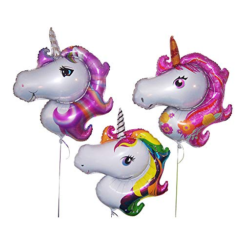 Unicorn party supplies for girls-Birthday party decorations-Set of 3 large foil balloons-Hoopoe brand by Hoopoe Trading Company
