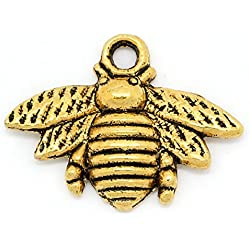 "Housweety 50pcs Metal Bee Charm Pendants 21mm x 16mm(7/8"" x 5/8"") (Gold Tone)"
