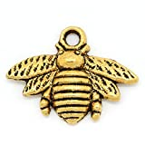 Housweety 50pcs Metal Bee Charm Pendants 21mm x 16mm(7/8 x 5/8) (Gold Tone)