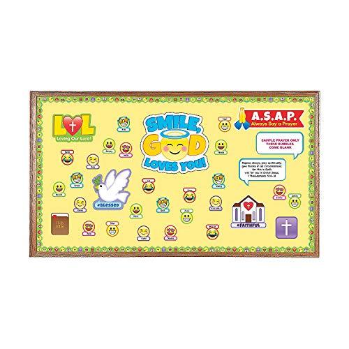 Fun Express - Faith Emoji Bb Set - Educational - Classroom Decorations - Bulletin Board Decor - 90 Pieces