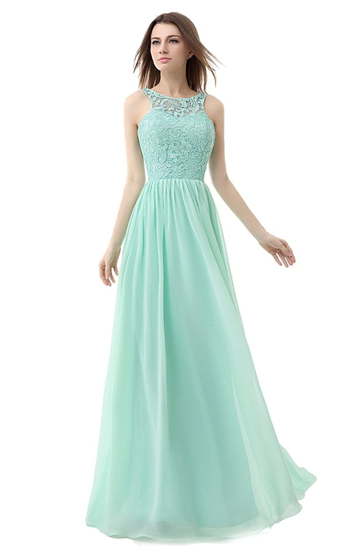 Amazon.com: Ikerenwedding Women\'s Straps Lace Chiffon Bridesmaid ...