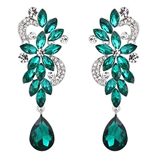 BriLove Women's Bohemian Boho Crystal Flower Wedding Bridal Chandelier Teardrop Bling Long Dangle Earrings Emerald Color Silver-Tone