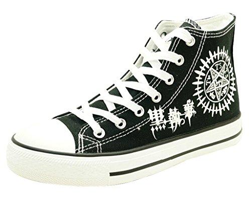 Black Butler Anime Schuhe auf Leinwand Nachtleuchtend Schwarz