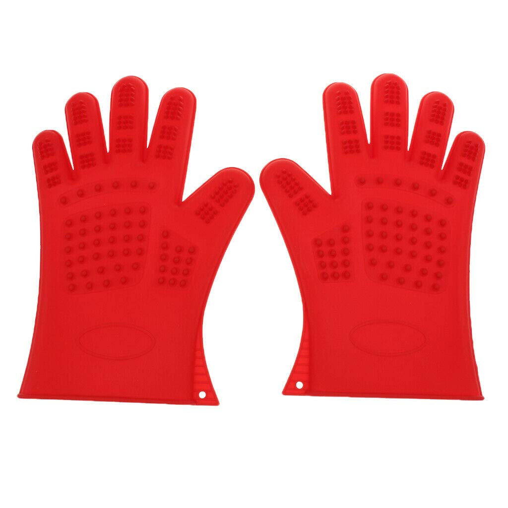 Agordo 2Pc Cleaning Brush Magic Glove Pet Dog Cat Massage Hair Removal Grooming Groomer (Color - Red)