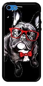 La Kase Collection-Carcasa para Apple iPhone 5C, Negro Brillante, revestimiento de silicona perro Happy de Libby Watkins Negro Única Talla